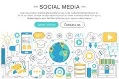 Vector modern Sociaal de media van het lijn vlak ontwerp concept De sociale media Kopbal van de pictogrammenwebsite, app de banne royalty-vrije illustratie