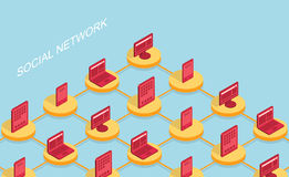 Vector modern social network flat background Royalty Free Stock Photo