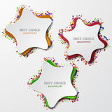 Vector modern star set with confetti on white Royalty Free Stock Image