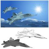 Vector modern stealth fighter stock illustration