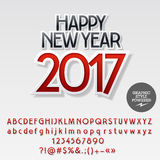 Vector modern sticker Happy New Year 2017 greeting card. With set of letters, symbols and numbers. File contains graphic styles Stock Photography