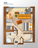 Vector modern studio apartment top view illustration Stock Image