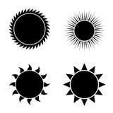 Vector modern sun icons set on white Royalty Free Stock Photo