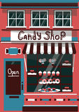 Vector modern sweet shop. Detailed facade background in flat style, with big candy sticker Royalty Free Stock Photography