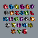 Vector modern tech alphabet letters set. Geometric pixilated dig Stock Photo