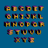 Vector modern tech alphabet letters set. Geometric pixilated dig. Ital font, 3d dotted 8 bit characters Stock Photo