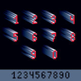 Vector modern tech whole numbers set. Geometric pixilated digits Stock Images