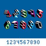 Vector modern tech whole numbers set. Geometric pixilated digits Stock Photos