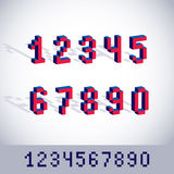 Vector modern tech whole numbers set. Geometric pixilated digits Stock Photography
