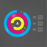 Vector modern template. Abstract cycle. Three interrupted circle. S in different colors. Long arrows with place for your content. Modern graphic element Stock Photo