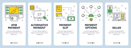 Vector modern thin line atm payment vertical web banner set. Vector set of vertical banners with ATM payment, Alternative payment, Payment slip, Payment options Stock Image