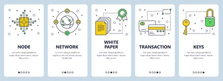 Vector modern thin line bitcoin concept web banners. Vector set of vertical banners with Node, Network, White paper, Transaction, Keys concept website templates Stock Images