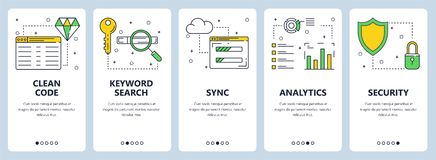 Vector modern thin line clean code concept web banner set. Vector set of vertical banners with Clean code, Keyword search, Sync, Analytics, Security website stock illustration