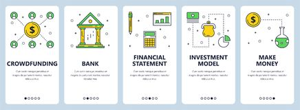Vector modern thin line crowdfunding vertical web banner set. Vector set of vertical banners with Crowdfunding, Bank, Financial statement, Investment model, Make Royalty Free Stock Image