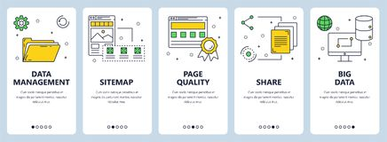 Vector modern thin line data management concept web banner set. Vector set of vertical banners with Data management, Sitemap, Page quality, Share, Big data Stock Photo