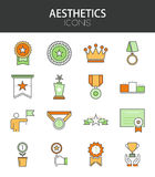 Vector modern thin line flat design of icons set Royalty Free Stock Image