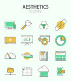 Vector modern thin line flat design of icons set Stock Photo