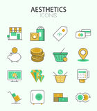 Vector modern thin line flat design of icons set Stock Photos