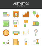 Vector modern thin line flat design of icons set Royalty Free Stock Photos