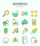 Vector modern thin line flat design of icons set Royalty Free Stock Photography