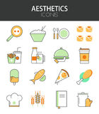 Vector modern thin line flat design of icons set Royalty Free Stock Photo