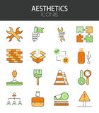 Vector modern thin line flat design of icons set Stock Image