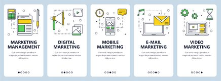 Vector modern thin line marketing management concept web banner set. Vector set of vertical banners with Marketing management, Digital, Mobile, E-mail and Video Royalty Free Stock Photo