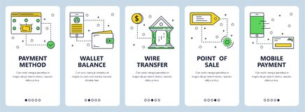 Vector modern thin line payment vertical web banner set. Vector set of vertical banners with Payment method, Wallet balance, Wire transfer, Point of sale, Mobile Royalty Free Stock Photography