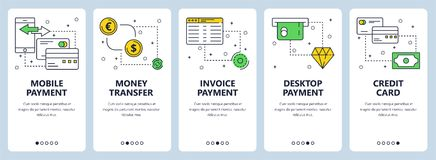 Vector modern thin line payment vertical web banner set. Vector set of vertical banners with Mobile payment, Money transfer, Invoice payment, Desktop payment Stock Photo