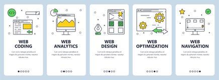 Vector modern thin line web coding concept banner set stock illustration