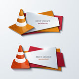 Vector modern traffic cones banners icons set Royalty Free Stock Photo