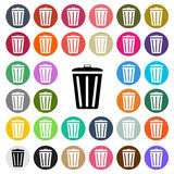 Vector modern Trash Bin flat design icon set in button Royalty Free Stock Images