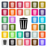 Vector modern Trash Bin flat design icon set in button Royalty Free Stock Photo