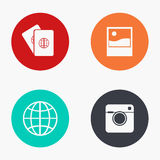 Vector modern travel colorful icons set Royalty Free Stock Photo
