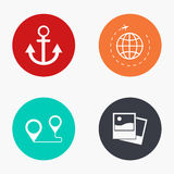 Vector modern travel colorful icons set Stock Photography