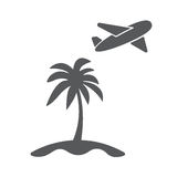 Vector modern travel concept illustration. Vector modern travel concept flat icon illustration. Airplain fly away from island with palm Royalty Free Stock Photography