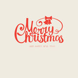 Vector modern trendy retro hand drawn calligraphic Merry Christmas Royalty Free Stock Images