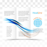 Vector modern tri-fold brochure design template with colorful dynamic wave background. Vector eps10 Stock Photo