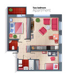 Vector modern two bedroom apartment top view illustration. Vector top view illustration of modern two bedroom apartment. Detailed architectural plan of dining Stock Images