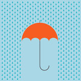 Vector modern umbrella with rain background. Royalty Free Stock Photo
