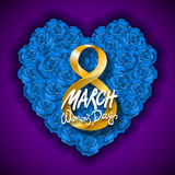 Vector modern valentines day or 8 march background. mothers day. greeting card. International Womans Day. blue rose heart backgrou Stock Photo