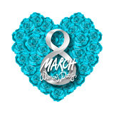 Vector modern valentines day or 8 march background. mothers day. greeting card. International Womans Day. blue rose heart backgrou. Nd. flower art stock illustration
