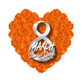 Vector modern valentines day or 8 march background. mothers day. greeting card. International Womans Day. orange rose heart backgr Stock Photo