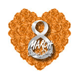 Vector modern valentines day or 8 march background. mothers day. greeting card. International Womans Day. orange rose heart backgr. Ound. flower art Stock Photos