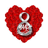 Vector modern valentines day or 8 march background. mothers day. greeting card. International Womans Day. red rose heart backgroun. D. flower art stock illustration