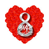 Vector modern valentines day or 8 march background. mothers day. greeting card. International Womans Day. red rose heart backgroun. D. flower art royalty free illustration