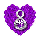 Vector modern valentines day or 8 march background. mothers day. greeting card. International Womans Day. violet rose heart backgr. Ound. flower art royalty free illustration