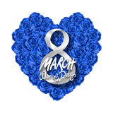 Vector modern valentines day or 8 march background. mothers day. greeting card. International Womans Day. blue rose heart backgrou. Nd. flower art vector illustration