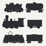 Vector modern and vintage trains silhouettes set with cargo wagons and tank. Steam, diesel and electric locomotives Royalty Free Stock Image