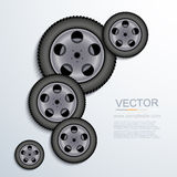 Vector modern wheels background. Stock Photos
